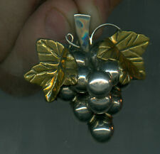Antique .925 Sterling Silver Gold Leaves Grape Brooch Designed Mexico