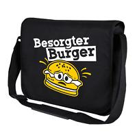 Besorgter Burger Bürger Hamburger Cartoon Comedy Fun Umhängetasche Messenger Bag