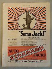 Vintage 1920 Auto Standard Jacks The National-Standad Co. Nile, MI  Full Page AD
