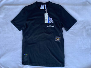 NWT Men's Disney x Adidas T-Shirt Goofy Black Short Sleeve with Pin Size Small