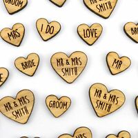 Personalised MIXED Heart Shaped Wooden Rustic Wedding Table Confetti LOVE Mr Mrs