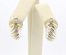 David Yurman Diamond 18k Yellow Gold Sterling Silver Shrimp Earrings Thoroughbre