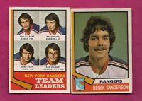 1974-75 OPC RANGERS BRAD PARK + DEREK SANDERSON CARD (INV# A5904)