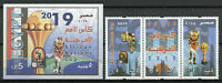 Egypt Stamps 2019 MNH Football African Nations Cup Sports 3v Strip + 1v IMPF M/S