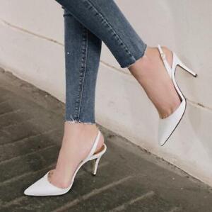 Sommer Stiletto 6/8/10cm High Heels Damenpumps Slingback Spitz Zehe Sandalen D