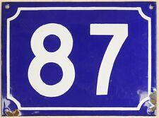 Large old French house number 87 door gate plate plaque enamel steel metal sign