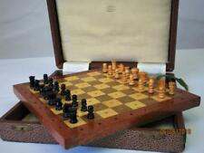 "VINTAGE  EARLY 20th C.""JAQUES LONDON"" PEGGED WOODEN  TRAVEL CHESS SET"