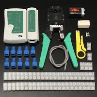 66tlg. Netzwerk Werkzeug Set Crimpzange Tester Kabel Kabelschneider RJ45 Stecker