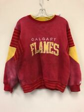 Vtg 80s Starter Calgary Flames NHL Spell Out Sweatshirt Crewneck Sz L Red Yellow