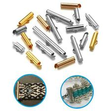 30//50Pcs Crimp End Caps Slider Clasp Buckles Tubes Jewelry Bracelet Connectors F