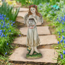 Fairy Garden Mini - Solar Fairy With Red Rose Crown And Firefly Jar