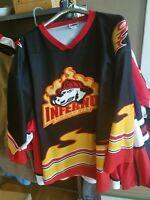 EUC Columbia Inferno Minor League Hockey Jersey SZ XXL OT Great Fire Theme black