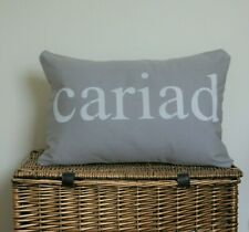 CARIAD CUSHION COVERS GREY SILVER HAND STENCILLED  WELSH LOVE RECTANGLE OBLONG