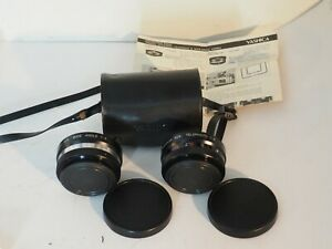 Very Clean YASHICA TELEPHOTO & WIDE-ANGLE LENSES in Case with Instructions