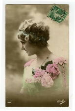 c 1913 French Pinup Glamour PRETTY LADY tinted photo postcard