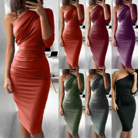 Women One Shoulder Bodycon Midi Dress Evening Party Cocktail Club Pencil Dresses