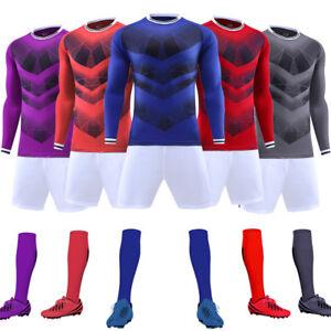 NEW Season Long Sleeves Blank Running Soccer Jersey Kit Football Sport Uniforms