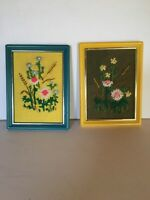 Mid Century Vintage Framed Set Of Two Flower Wall Plaques Needlepoint