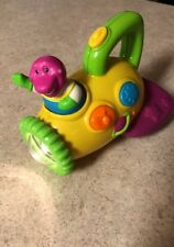 Barney Let's Go Airplane Toy Flashlight Musical  Sounds Talking Purple Dinosaur
