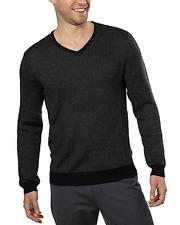 Calvin Klein Men's Merino Wool V-Neck Sweater, Black Combo, Size XL
