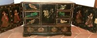 Antique Cabinet Asian Black Lacquer - Drawings Table Top 8 Drawers  RARE FIND