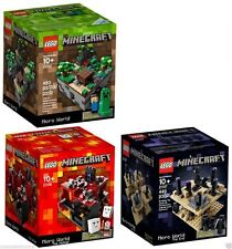 LEGO Minecraft Set: Micro World 21102, Nether 21106,The End 21107