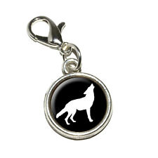 Wolf Howling - Antiqued Bracelet Pendant Zipper Pull Charm with Lobster Clasp