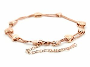 Real rose gold plated snake chain bracelet genuine rose gold hearts jewelry box