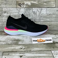 Nike Epic React Flyknit 2 Black, Pink/Lime Size 7Y AQ3243-003 Womens Size 8.5