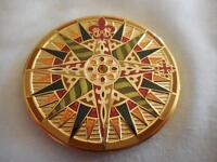 """2010 Compass Rose UNACTIVATED """"FLORES"""" Gold MINT Geocoin"""