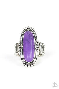 Desert Tranquility Purple Stone Oblong Silver Adjustable Stretch Ring Paparazzi