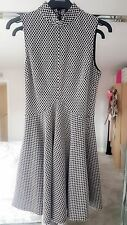 river island fit and flare dress size 10 black and white