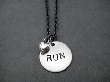 RUN LOVE~Running Necklace on 18 inch gunmetal chain~RUNNING JEWELRY~Love To Run
