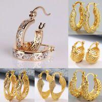 Fashion 18K Yellow Gold Filled Crystal Stud Hoop Dangle Earrings Wedding Jewelry