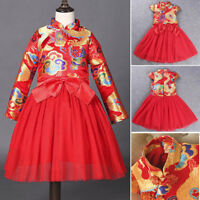 Children Girl Tang Suit Cheongsam Embroidered Princess New Year Tutu Party Dress