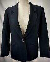 Pendleton Womens Black 100% Virgin Wool Blazer Jacket Petite Size 4 4P Lined