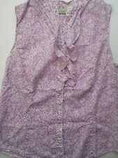 LL Bean Women's Top Blouse Purple Floral Ruffle Sleeveless Sz M