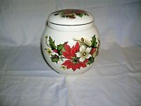 Sadler Tea/ Ginger Jar/ Cannister Pointsetta Pattern. Made in England