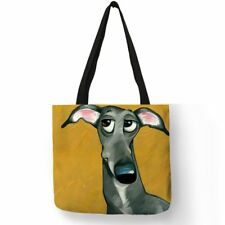 Customize Greyhound Black Dog Print Women Lady Fashion Tote Bag Fabric Handbags