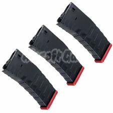 Airsoft Parts APS 3pcs 300rd Hi-Cap U Mag for FMR ASR UAR M4M16 AEG Black/Red