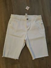 NWT Justice Girls White Bermuda Distressed Stretch Jean Shorts size 16 new