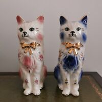 Pair Vintage Fireside Mantle Cat Ornament Figurines. Kitsch Cats. Mid Century.