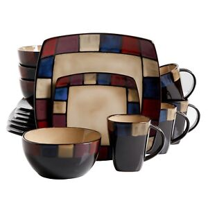 Soho Lounge 16-Piece Mosaic Reactive Glaze Dinnerware Set,Cook,Bake,Plate, Glass