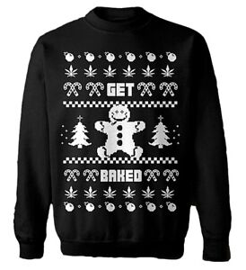 UGLY CHRISTMAS SWEATER [GET BAKED] PULLI PULLOVER WEED STAY HIGH KEKSE COOKIES
