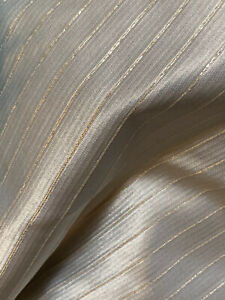 Vintage 1960s Silver Satin Metallic Striped Jacquard Fabric Material Sewing 4Yds