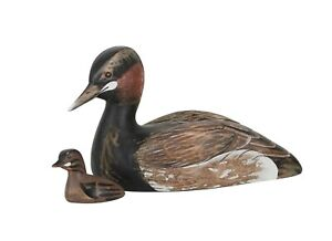Archipelago Hand Carved Wooden Birds Little Grebe With Chick 28cm Long