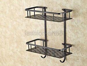 Oil Rubbed Bronze 2 Tier Wall Mounted Shower Shelf Bathroom Bath Basket fba530