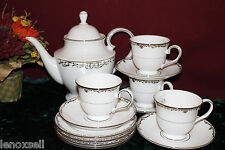 4 Lenox Coronet Platinum Tea Settings with a Teapot NEW USA White Platinum
