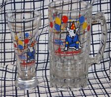 VTG  HUGE 1987 Bud Lgt - Spuds Mackenzie Glass Beer Mug - 8 Inch & Pilsner Glass