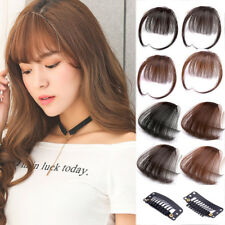 Thin Neat Air Bangs Human Clip In Natural Hairpiece Fringe Front Hair Extensions
